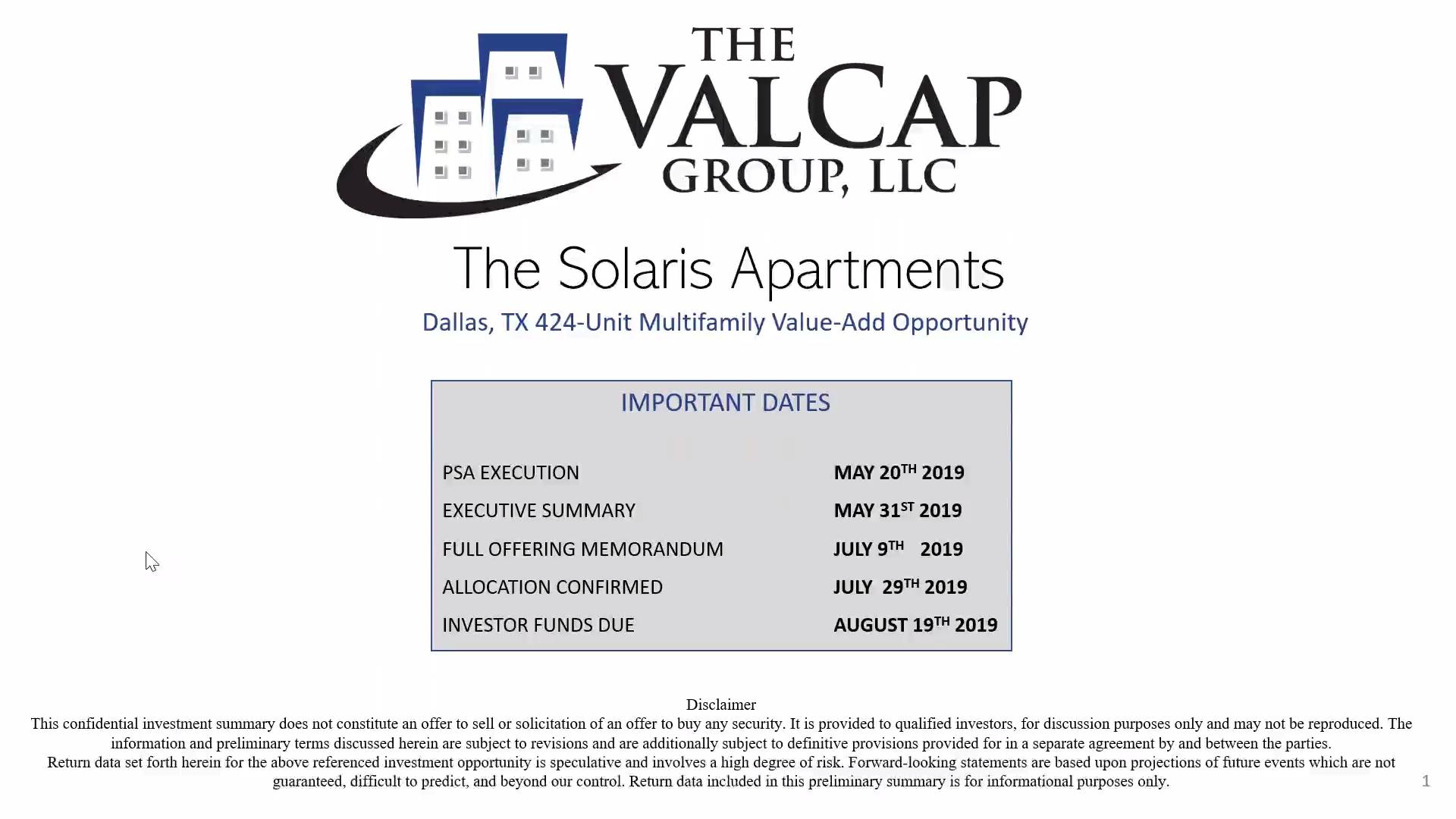 Investment Video - The Solaris Apartments