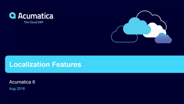 Acumatica 6: Text and Data Localization