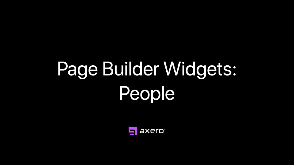 Page Builder Widgets: People