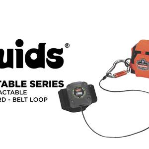 Ergodyne Product Video - Squids<sup>®</sup> 3002 Retractable Tool Lanyard - Belt Loop + Locking Carabiner, 2lbs / 0.9kg