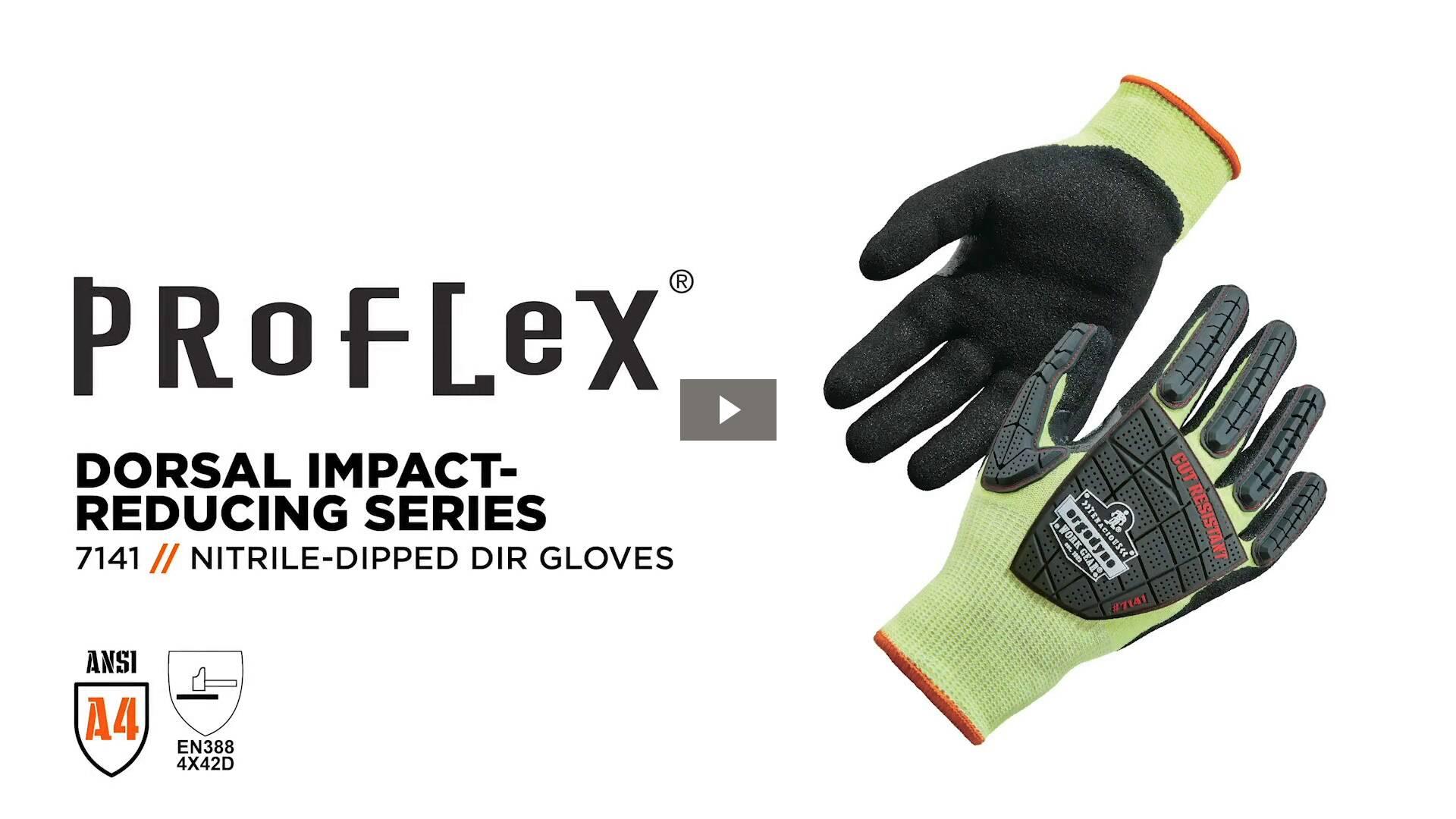 Ergodyne Product Video - ProFlex<sup>®</sup> 7141 Hi-Vis Nitrile-Coated DIR Level 4 Cut-Resistant Gloves