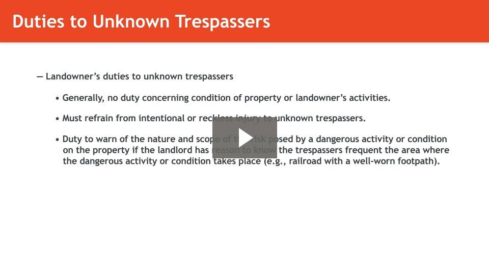 Duties of Landowners to Trespassers, Licensees, and Invitees