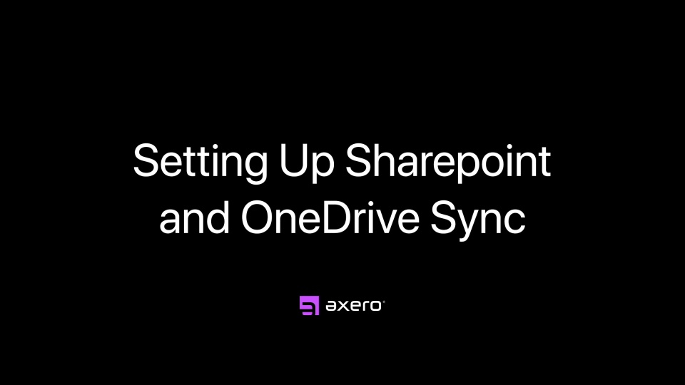 Setting up Sharepoint and OneDrive Sync