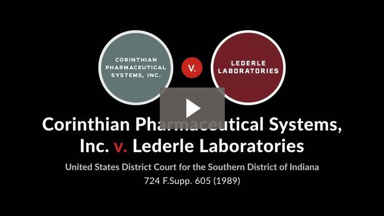Corinthian Pharmaceutical Systems, Inc. v. Lederle Laboratories