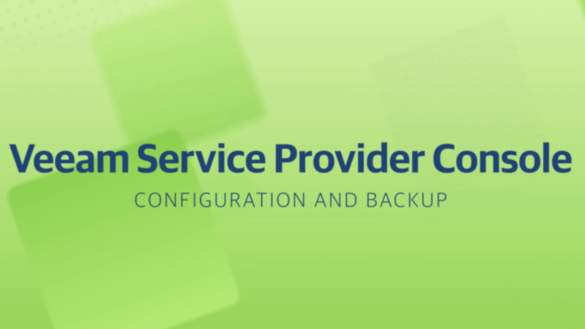 Product launch v11 - VSPC - Configuration and Backup