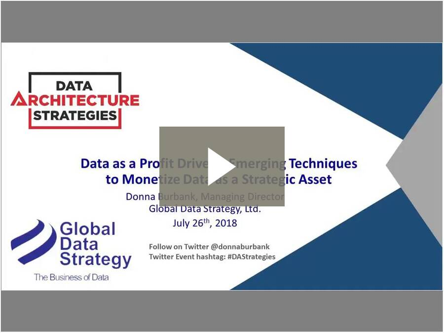 Data Architecture StrategiesData as a Profit Driver - Emerging Techniques to Monetize Data as a Strategic Ass-20180726 1800-1
