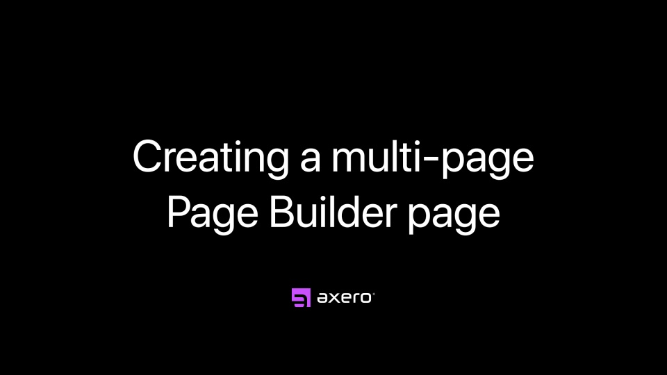 Creating a multi-page Page Builder page