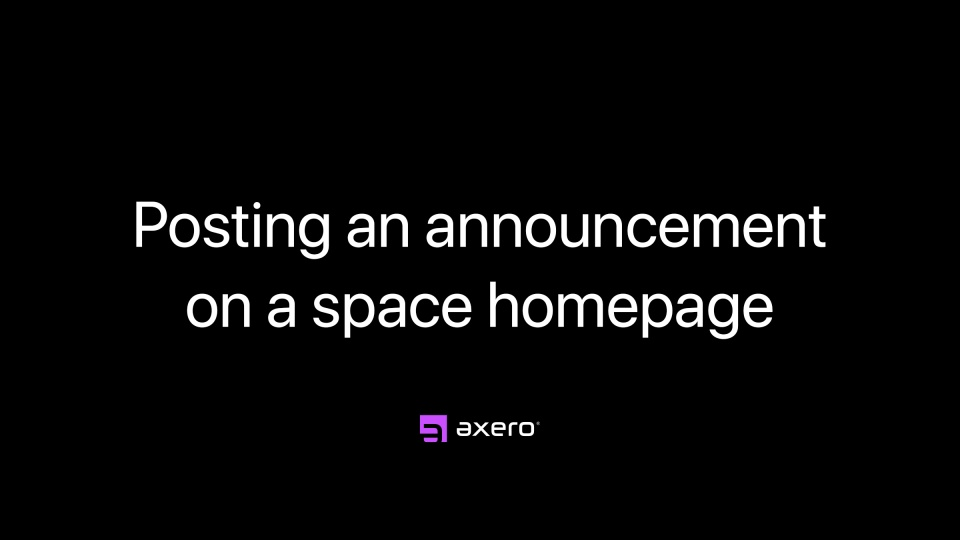 Posting an announcement on a space homepage