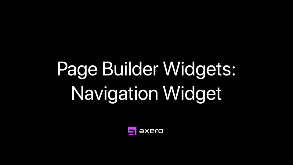 Page Builder Widgets: Navigation Widget