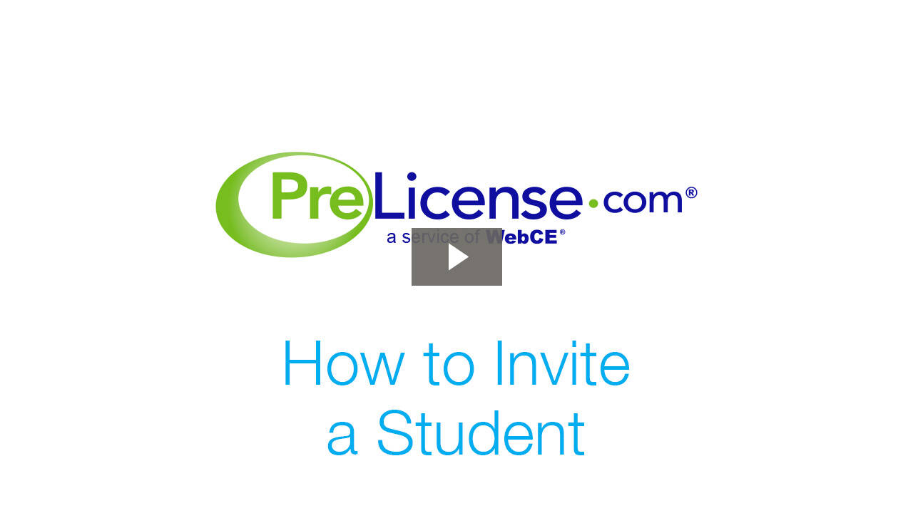 PreLicense.com: How to Invite a Student