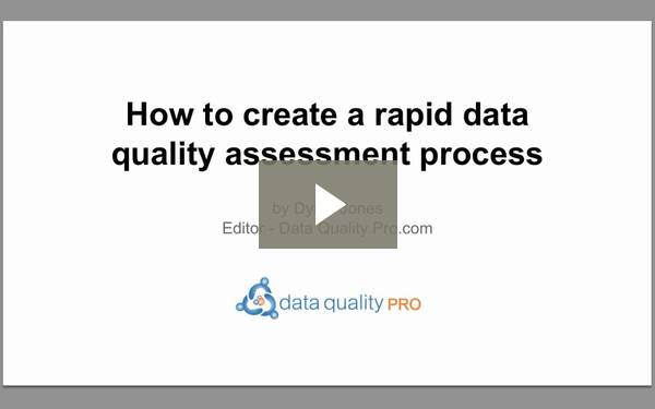 VIDEO: How to create a rapid Data Quality Assessment