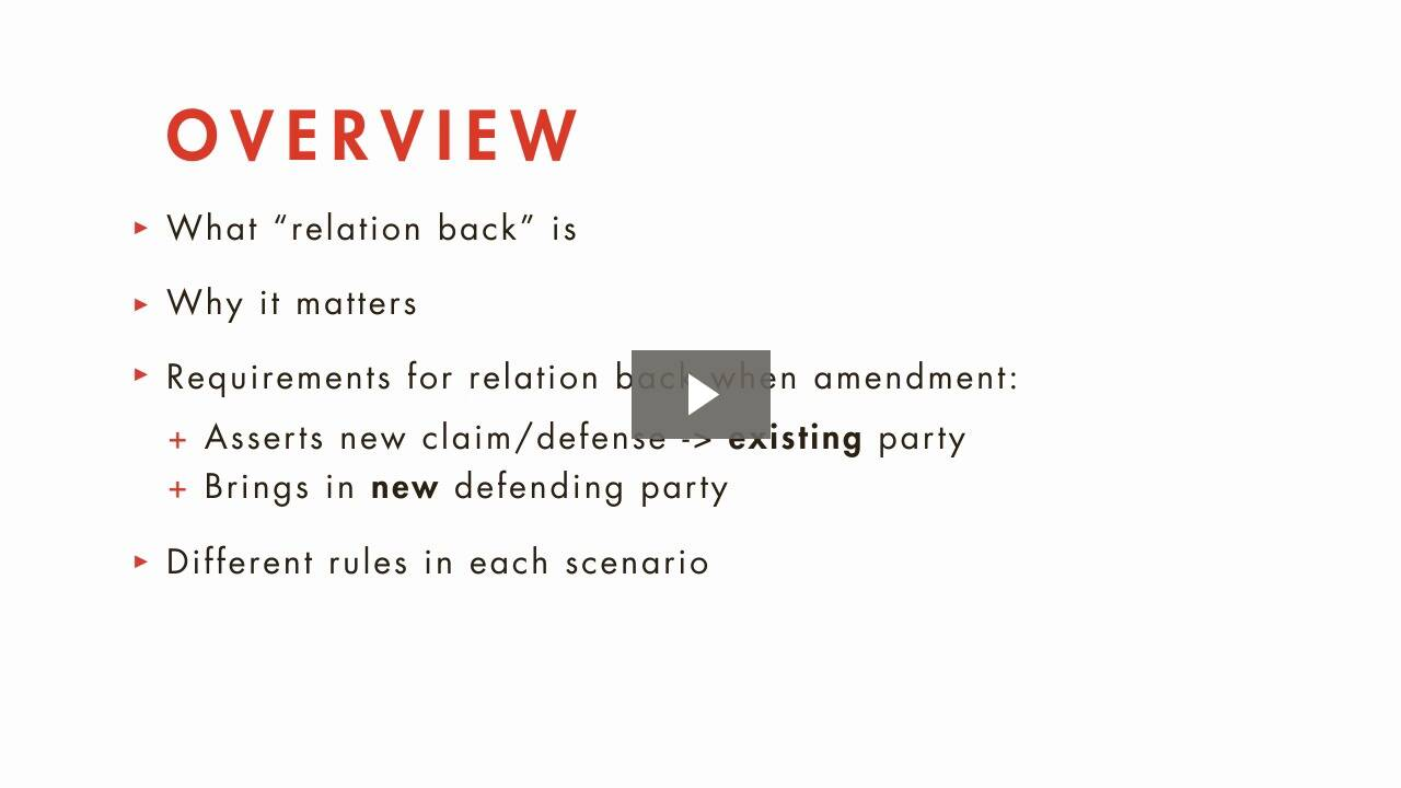 Relation Back of Amendments