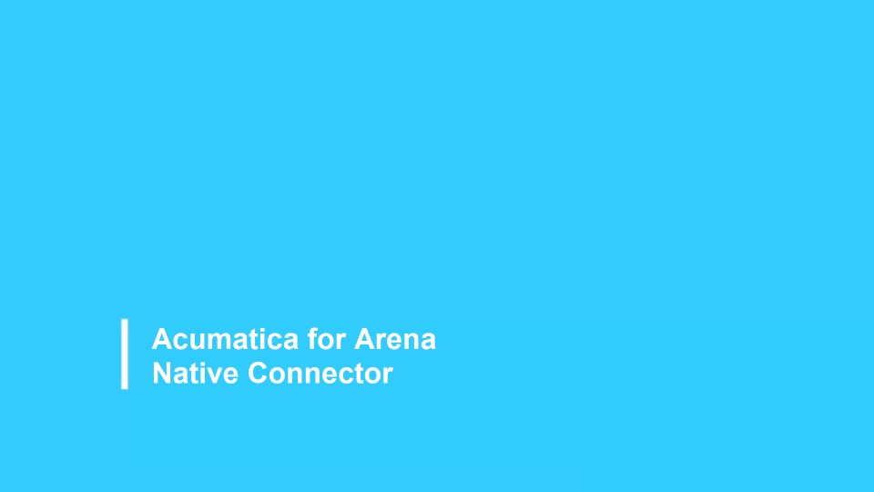 Acumatica for Arena Native Connector