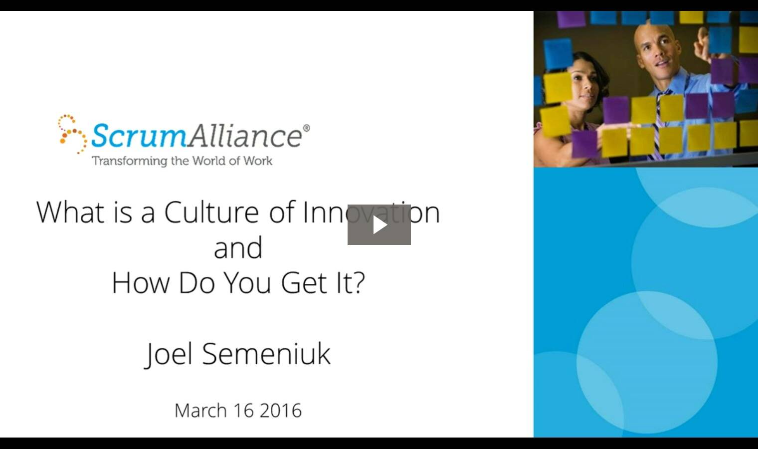 Webinar: What Is a Culture of Innovation, and How Do I Get It?