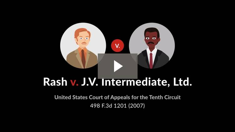 Rash v. J.V. Intermediate, Ltd