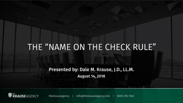"The ""Name on the Check Rule"""