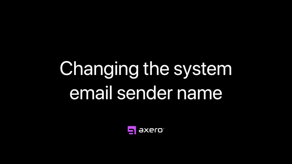 Changing the system email sender name