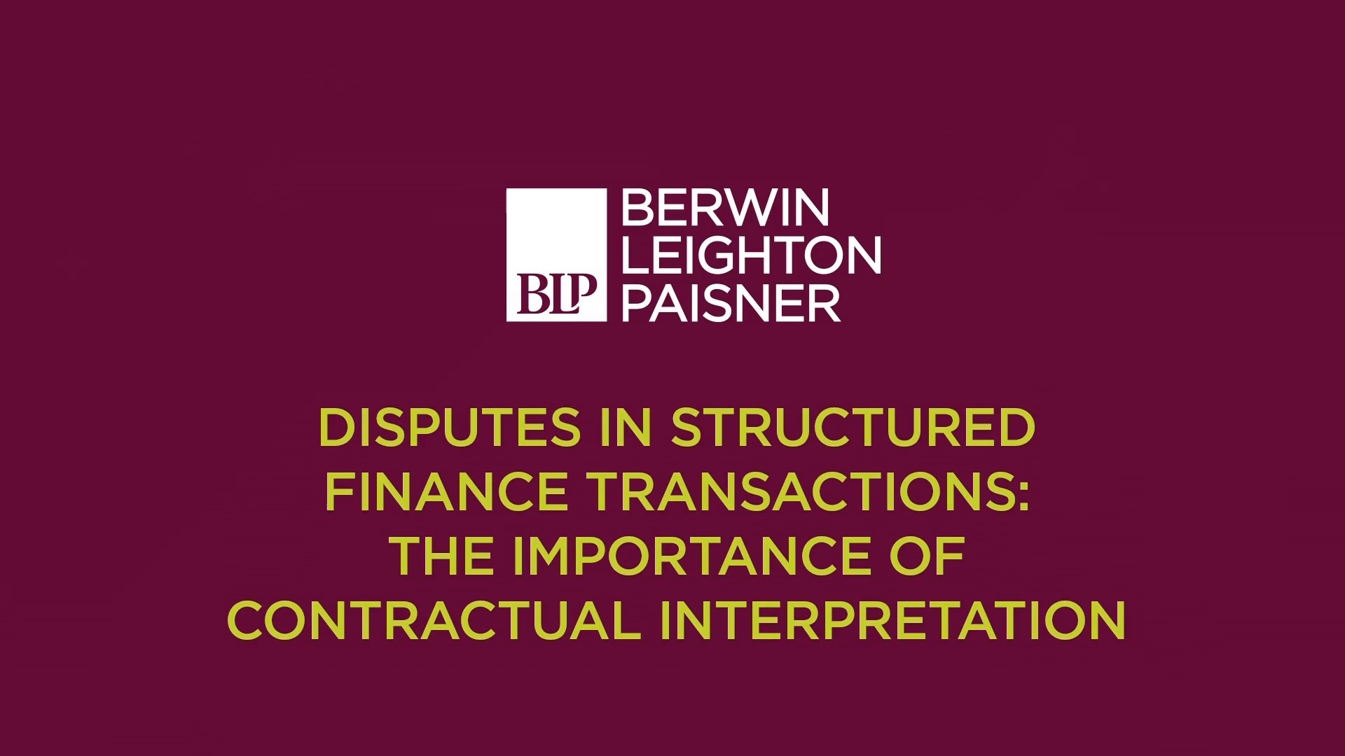 Still image from 'Interpreting contracts in structured finance transaction disputes' video