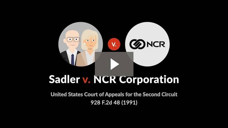 Sadler v. NCR Corporation