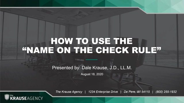 """How to Use the """"Name on the Check Rule"""""""