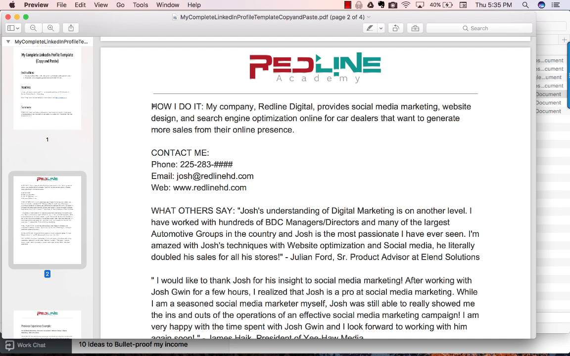 copy and paste linkedin templates for you to use redline academy