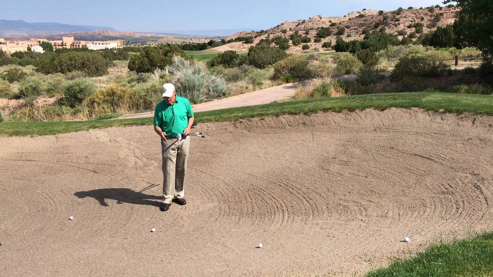Club & Shot Selection in Sand With Good Lie and With Slope