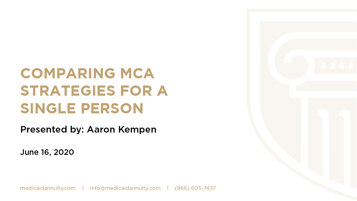 Comparing MCA Strategies for a Single Person