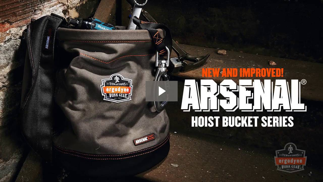 Ergodyne Product Video - Arsenal<sup>®</sup> 5945T XL Swiveling Carabiner Canvas Hoist Bucket with Top