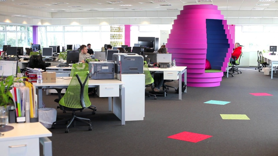 spectrum workplace funky office interior design for media company