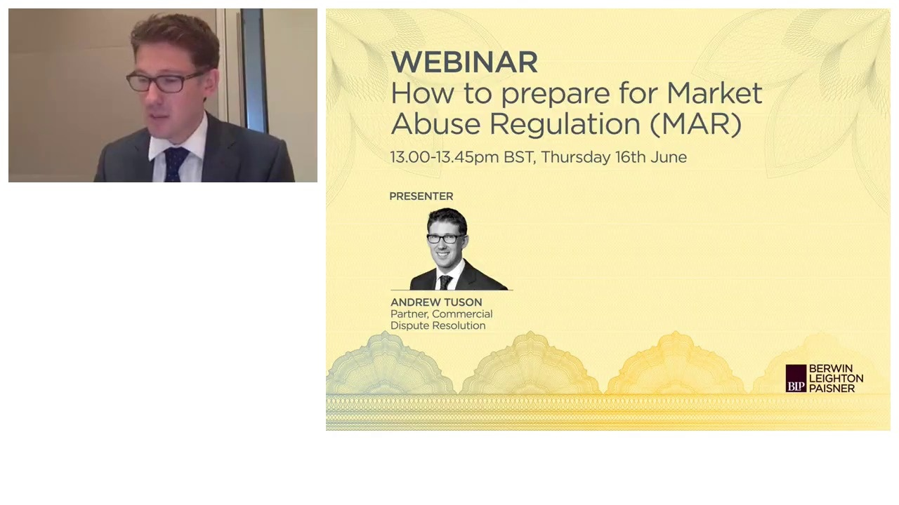 Still image from 'Webinar: How to Prepare for Market Abuse Regulation (MAR)' video
