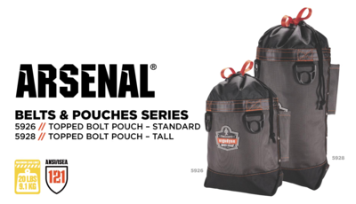 Arsenal® 5926 & 5928 Topped Tool Pouches Prevent Drops with Safe Storage & Easy Access to Tools