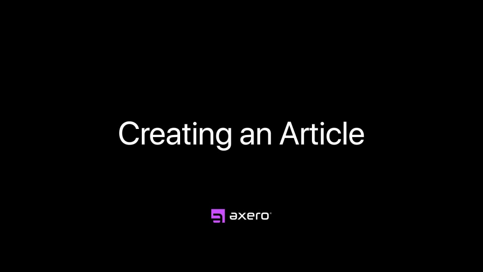 Creating an Article
