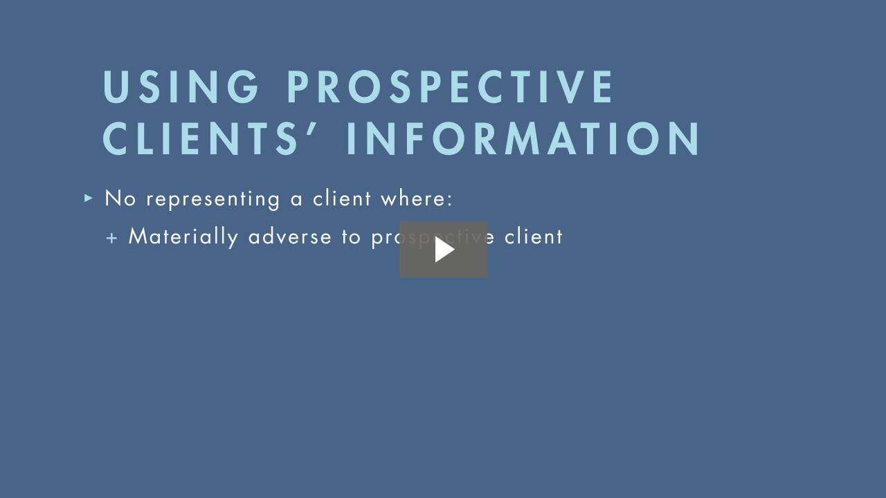 Conflicts with Prospective Clients