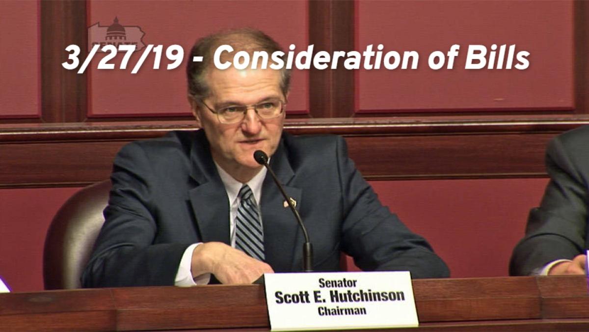 3/27/19 – Consideration of Bills