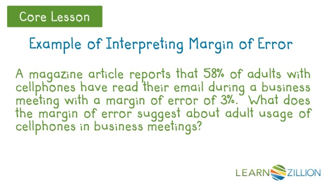 Determine A Margin Of Error And Interpret The Meaning Of The Results