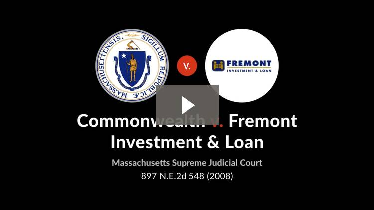 Commonwealth v. Fremont Investment & Loan