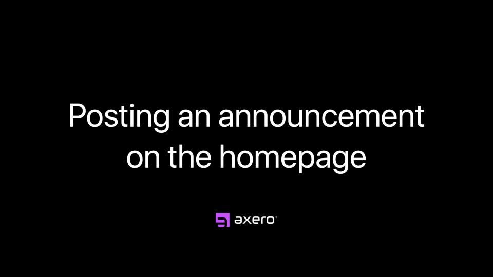 Posting an announcement on the homepage