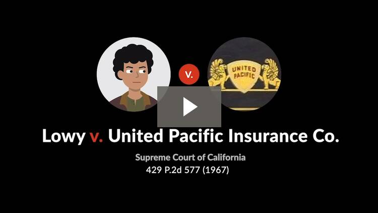 Lowy v. United Pacific Insurance Co.