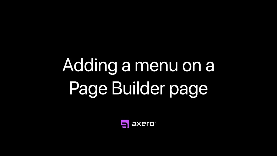 Adding a menu to a Page Builder page