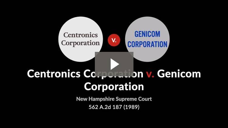 Centronics Corporation v. Genicom Corporation