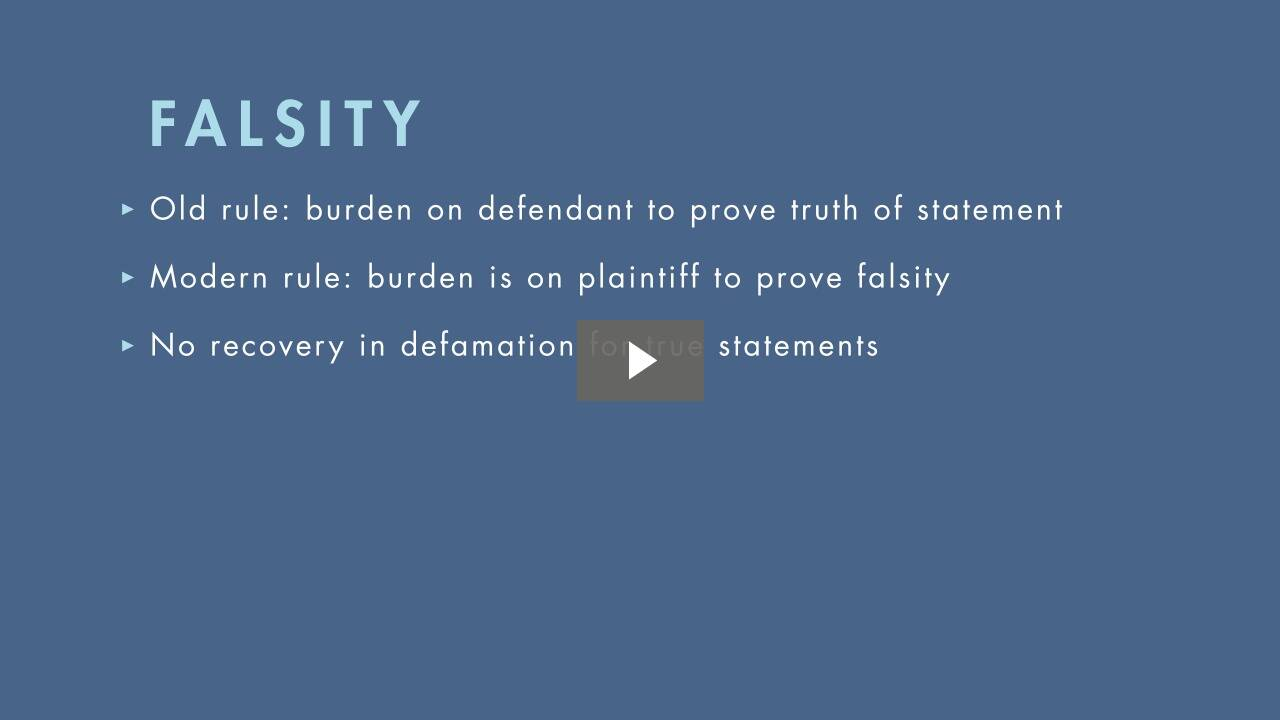 Traditional Rules on Defamation