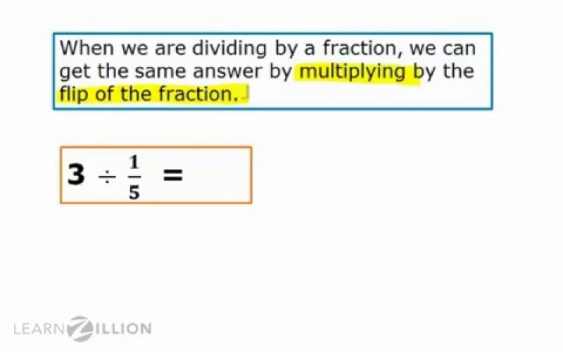 Lesson Video For Divide Whole Numbers By Fractions Using The