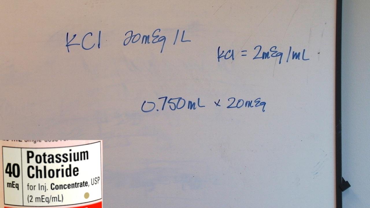 Medical Math Calculating Fluid Additives