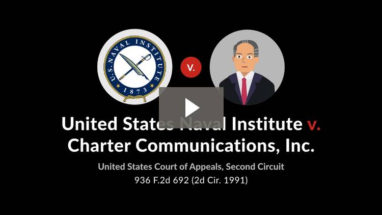 United States Naval Institute v. Charter Communications, Inc.