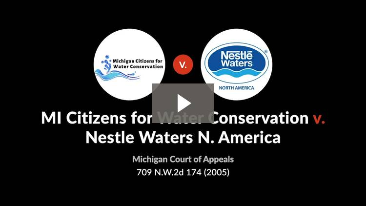 Michigan Citizens for Water Conservation v. Nestle Waters North America, Inc.