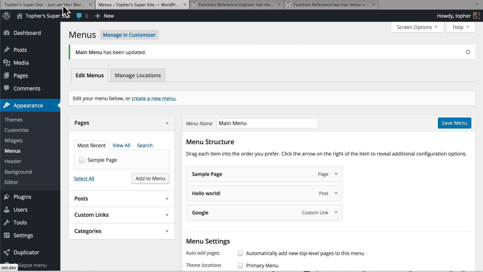 how to create menu in wordpress theme
