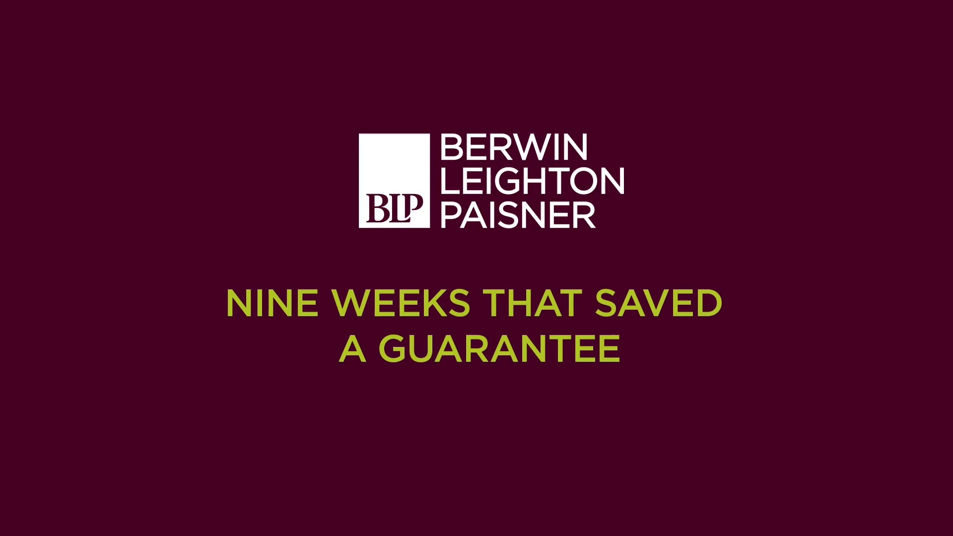 Still image from 'Nine weeks that saved a guarantee' video