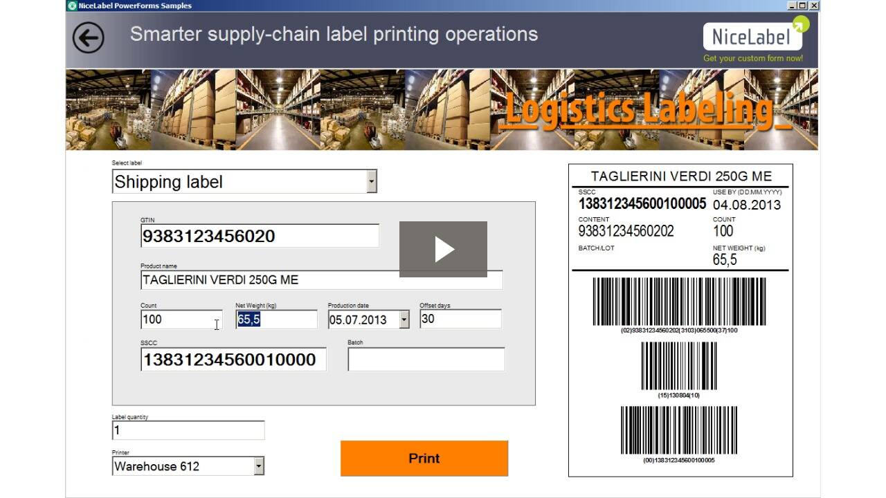 Build label printing applications