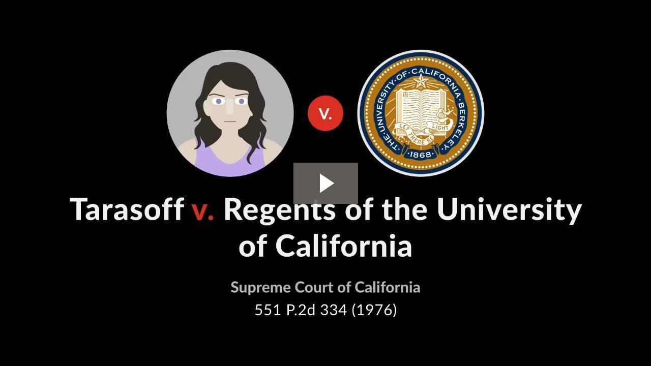 Tarasoff v. Regents of University of California