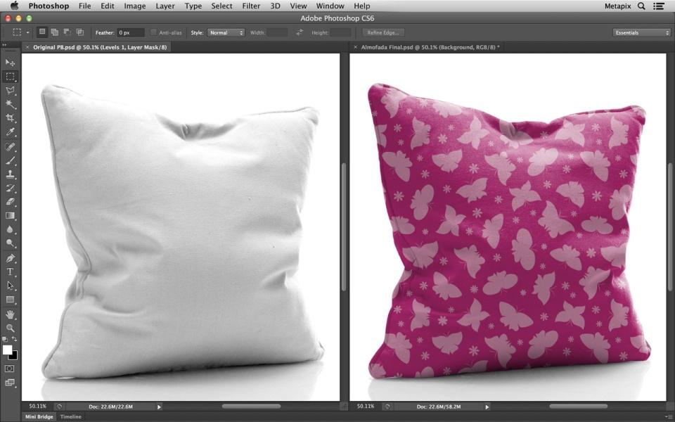 Simulação realista de padronagem em travesseiros